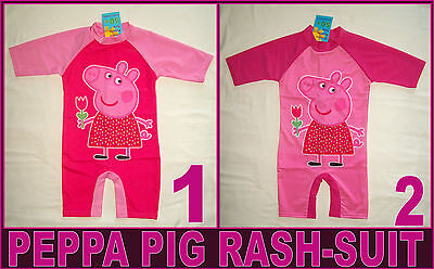 PEPPA PIG RASHSUIT Sz 2 4 6 8 or 10 RASH SUN SUIT - Pink Swimwear Rashi Togs NEW