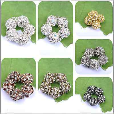 5/10/20Sets Silver/Gold Plated Bronze Copper Crystal Powerful Magnet Clasps
