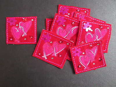Set of 10 Embroidered Blue Red Flower Beaded Card Making Motifs #17R94