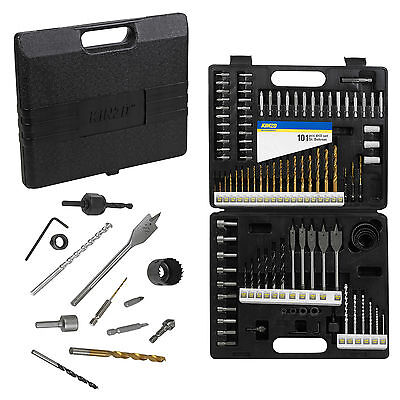 Kinzo 101 Pc Titanium Drill Bits Screwdriver Set HSS Wood Metal Masonry Case DIY