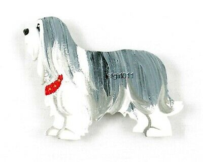 Wooden Dog Magnet Bearded Collie #134 Hand Painted by Classic Dandy Design New