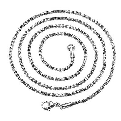 "Pick 2-7mm 316L Stainless Steel Box Chain Links Necklace 20""-24"" Mens Womens New"