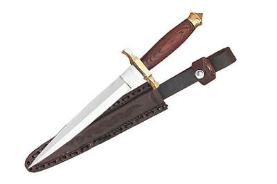 "NEW 12.5"" Stainless Steel Wood Handle Commando Dagger Knife w/ Leather Sheath"