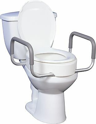 Premium Raised Toilet Seat with Removable Arms for Standard Toilets, Portable