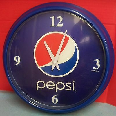 """Large Pepsi Cola Wall Clock Blue Plastic Battery Operated Face is 12"""" Diameter"""