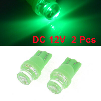 2 x Car Auto T8 Wedge Green LED Lamp Dashboard Indicator Side Lights Bulbs