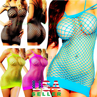 Mesh Big Fishnet Dress Bodystocking Body Stocking Bodysuit Nightwear Lingerie