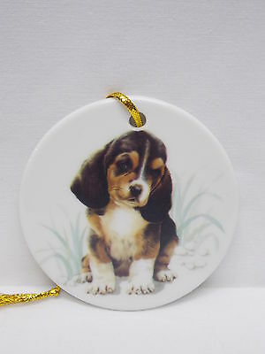 Beagle Puppy Dog 3 In Round Porcelain Christmas Tree Ornament Handmade