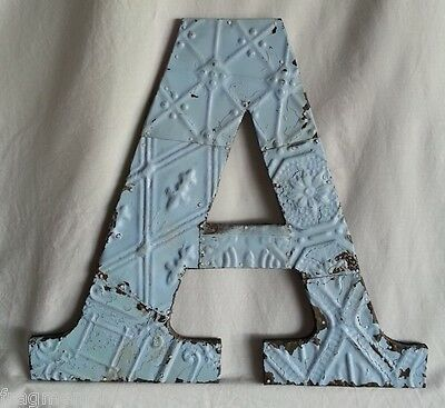 "Large Antique Tin Ceiling Wrapped 16"" Letter 'A' Patchwork Metal  Baby Blue C-1"