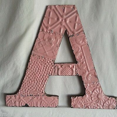 "Large Antique Tin Ceiling Wrapped 16"" Letter 'A' Patchwork Princess Pink"