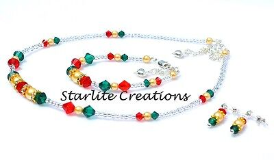 Girl's CHRISTMAS Necklace, Bracelet & Stud Earrings crystal & pearl Set 4 pieces