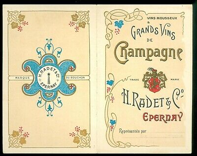 Single-Fold Adv. Flyer - Grands Vins de Chapagne Chromolithograph Exc. Graphics