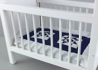 Melody Jane Dolls House Nursery Alice Lacy Quilted Navy White Cot Cover