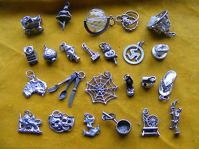 Nn Various Vintage Sterling Silver Charm Punch Crystal Globe Anchor Boot Till