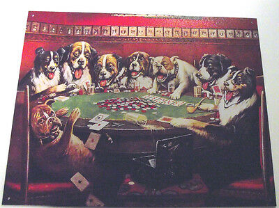 8 Dogs Playing Poker,  Metal Sign, Apo&fpo Welcome, Adult, Unisex, Desperate Ind