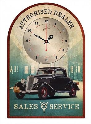 1934  THREE WINDOW COUPE V8 DELUXE Sales & Service  VINTAGE TIN SIGN CLOCK