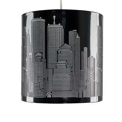 Modern New York Skyline Gloss Black Ceiling Pendant Light Lamp Shade Lampshade