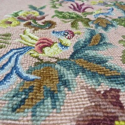 New Unused Antique Floral Birds Petit Point Needlepoint Complete Hand Made