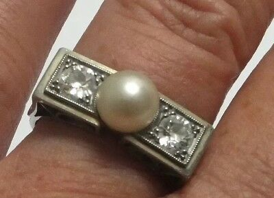 Antique Pearl And Diamond Platinum Ring 18 Carat White Gold Band