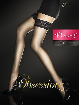 Obsession Edith Fiore Lace Top Hold Ups Stay Ups Stockings 8 Denier 4 Colours