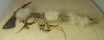 "Native American 18"" Ceremonial Spike Axe Reproduction with Beads Feathers Fringe"