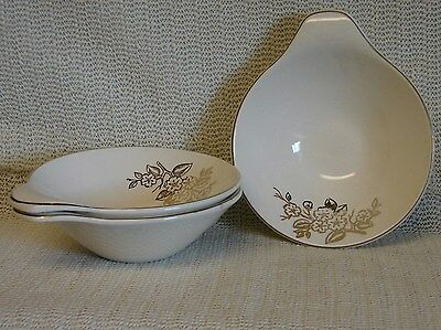 SET OF 3 VINTAGE KNOWLES SOUP BOWLS WITH HANDLES-GOLD FLOWERS AND TRIM---52-7