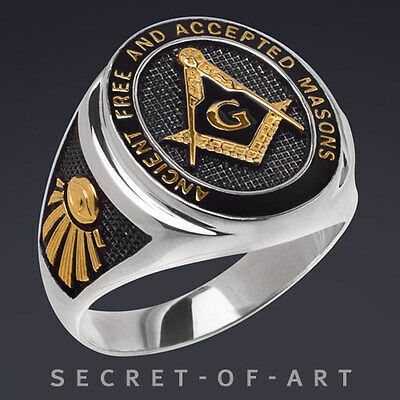 A.F.A.M. MASONIC FREIMAURER SILVER RING BLACK ENMALE 24K-GOLD PLATED