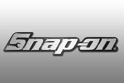 "Snap-on Tools Logo Chrome 19,5cm 8"" long  Nameplate Toolbox Emblem Badge"