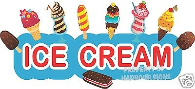 """Ice Cream Decal 24"""" Cart Stand Concession Food Truck Restaurant Vinyl Sign"""