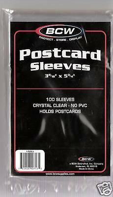 "100 Postcard SLEEVES Plastic Protectors Holder Non PVC Crystal Clear 3½"" x 5¾"""