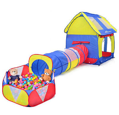 Kids Playhouse Adventure Play Tent Indoor or Outdoor Tunnel Pool 3 Pieces Set
