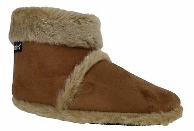 Mens Coolers Furry Lined Brown Ankle Bootie Snug Winter Slippers Sizes 6 to 11