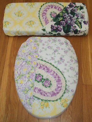 Lavender Violets Yellow Rose Crochet Chenille ..Toilet Seat & Tank Lid Cover Set