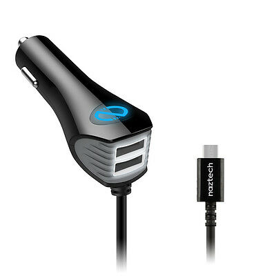 Black 4800mAh Super Rapid Car Charger w Two Extra USB Port For Mobile Phones