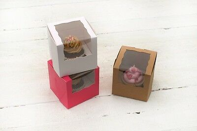 Plain Cupcake/Muffin Box For Single Cupcake Hot Pink, White and Kraft Available