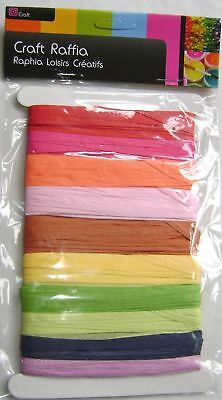New 20M Raffia Paper Ribbon 10 Colours Red Pink Green Blue Yellow On Card St1743