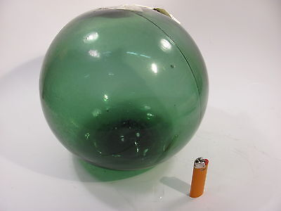 """AUTHENTIC 12"""" Blue Green  GLASS FISHING FLOAT 2 PIECE MOLD GREAT SLAGGY BUTTON"""