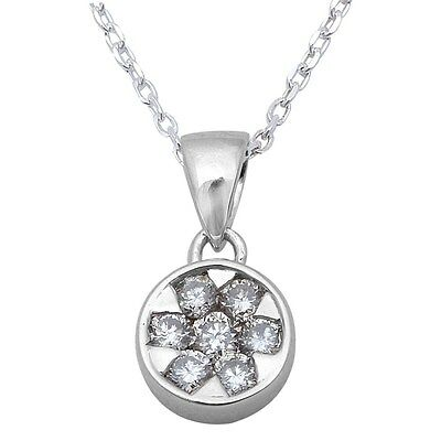 ".25ct Round Diamond Solitaire Pendant Necklace 14kt White Gold 18"" Chain"