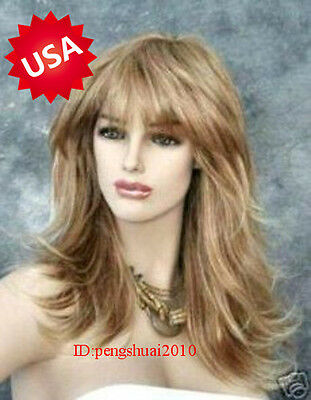 Hot Heat Resistant Long Blonde Wavy Curly Women Cosplay Party Hair Full Wig