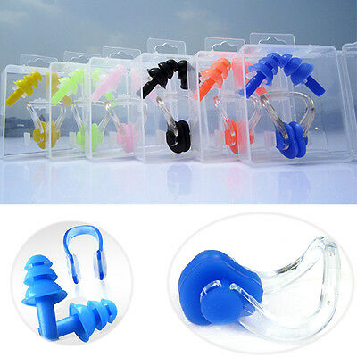 Swimming Nose clip and Ear Plug Set For Adult Kids Unisex Swim Pool Protection