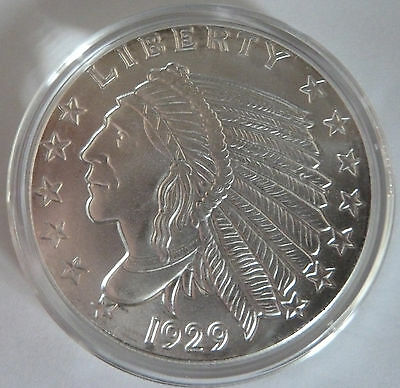 1929 Golden State Mint Incuse Indian 1 oz .999 Silver Bullion Round