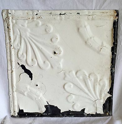 "12"" Antique Tin Ceiling Tile White Reclaimed Vintage Metal Az1"