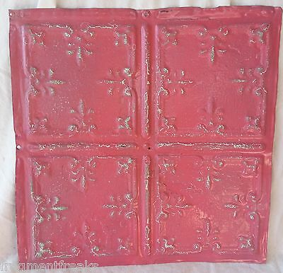 "12"" Antique Tin Ceiling Tile SEE OUR SALVAGE VIDEOS Tropical Pink Fleur De Lis"