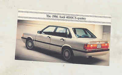 1986 Audi 4000CS Quattro Small Brochure mx9638