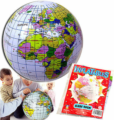 INFLATABLE GLOBE 40CM BEACH BALL TOY GIFT BOYS GIRLS BIRTHDAY PARTY BAG FILLER
