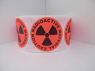 """CAUTION RADIOACTIVE MATERIAL 1 3/4"""" circle Sticker Label fluorescent red 250/rl"""