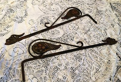 Pair Of Vintage Metal/iron Ornate Curtain Extension Brackets
