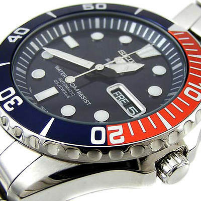 "SEIKO OROLOGIO AUTOMATICO 5 SPORTS 23 JEWELS SUBMARINER ""PEPSY STYLE"" UOMO WATCH"