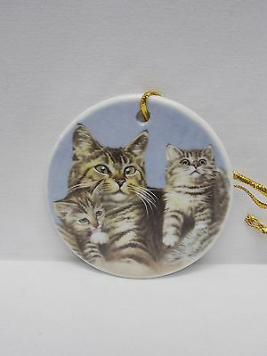 Grey/Black Tabby Cat Family 3 In Round Porcelain Christmas Tree Ornament Decal