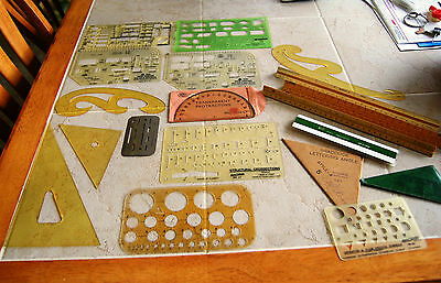 VINTAGE DRAFTING LOT ARCHITECTURAL DRAWING TOOL TEMPLATES RULERS CURVE LETTERING